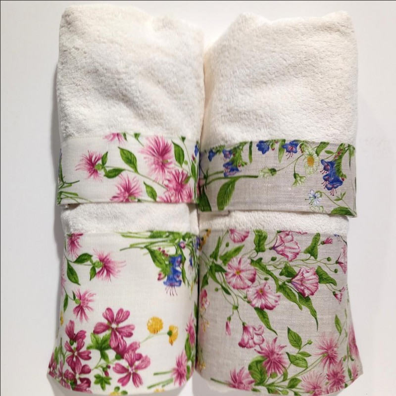 Trendy completo asciugamani spugna di puro cotone fiori di campo colorati con bordo in puro lino